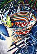tropical party blue frogs art and martini frogs, party frogs pop art, frog paintings, party frogs and martini frog portraits in colorful original party frogs art and fine art frog prints by artists Jane Billman and Gregg Billman