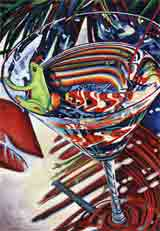 tropical party red animals art and martini animals, party animals pop art, animal paintings, party animals and martini animal portraits in colorful original party animals art and fine art animal prints by artists Jane Billman and Gregg Billman