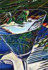 tropical reflection blue party animals art and martini animals, party animals pop art, animal paintings, party animals and martini animal portraits in colorful original party animals art and fine art animal prints by artists Jane Billman and Gregg Billman